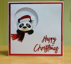 Christmas Card - Marianne Collectables Panda Die. For more of my cards please visit CraftyCardStudio on Etsy.com.