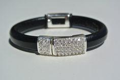 Regaliz Leather Bracelet Swarovski Bling Black by TBeadsGlass