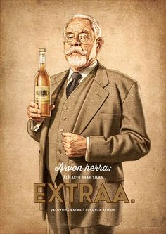 A relaunch of Jaloviina Cut Brandy made with characteristic persons from that time, the and
