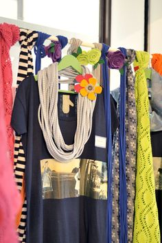 t-shirts, necklaces and scarves