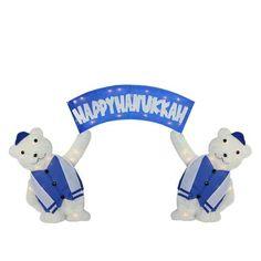 """60"""""""" Lighted Polar Bears with """"""""Happy Hanukkah"""""""" Sign Christmas Yard Art Decoration"""