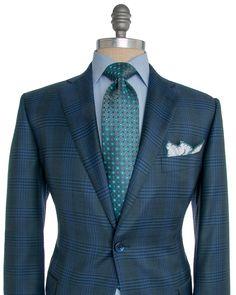 Belvest | Navy and Green Plaid Sportcoat | Apparel | Men's