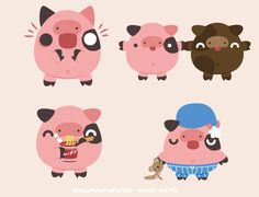 Walter the Pig - Instasize Stickers on Behance