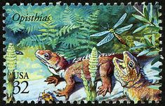 These guys, while extinct, have a living relative today:  the tuatara, from New Zealand. Copyright United States Postal Service. All rights reserved.