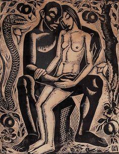 art-and-things-of-beauty: Karel van Veen (Dutch, 1898-1988), Adam and Eve, woodcut, 27,5 x 22 cm.