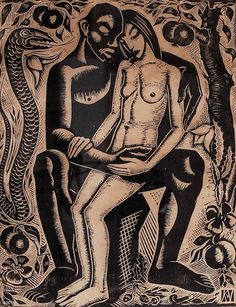 art-and-things-of-beauty:  Karel van Veen (Dutch, 1898-1988), Adam and Eve, woodcut, 27,5 x 22 cm.