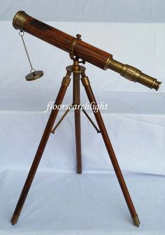 HOME DECOR NAUTICAL ANTIQUE FINISH WOOD & BRASS TELESCOPE W TRIPOD STAND