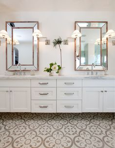 A Granada Tile Normandy Cement Tile Floor Brings Elegance To A Luxury Bathroom Renovation