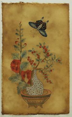 옻지 Korean Art, Asian Art, Art Floral, Korean Painting, Japan Painting, Natural Forms, Chinese Art, Chinoiserie, Flower Art