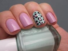 Lilac nails with mint leopard print accent