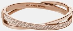 Michael By Michael Kors Brilliance Criss Cross Hinged Bracelet in Pink (Rose Gold/ Gold Quartz) | Lyst