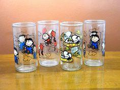 4 Vintage Peanuts Characters Jelly Jars Glasses | eBay