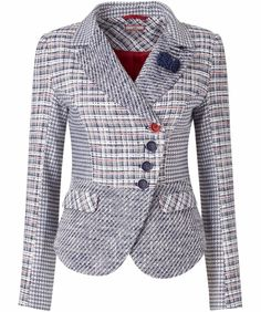 A creative mix of prints and texture take this tweedy jacket to a new level. Beautiful button details and a gorgeous shaped hem make it laid-back and lovely with just a touch of elegance. Approx Length: Our model is: Chanel Style Jacket, Jacket Style, Tweed Jacket, Blazer Jacket, Look Blazer, Jackets For Women, Clothes For Women, Jacket Pattern, Office Fashion