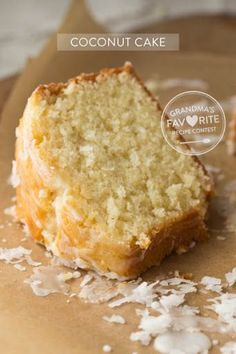 Try Grandmas Coconut Cake! You'll just need FOR THE CAKE, 2 cups all-purpose flour, 1 1/2 tsp baking powder, 1/2 tsp salt, 1 cup unsalted butter (at room... #BakingSodaBeautyUses Coconut Pound Cakes, Pound Cake Recipes, Lemon Cakes, Pound Cake Glaze, Southern Pound Cake, Chocolate Hazelnut Cake, Chocolate Tarts, Pear Recipes, Coconut Recipes