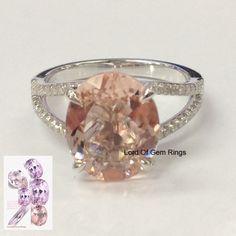 10x12mm Pink Morganite with Diamond 14K White Gold Engagement Ring,Split Shank #LOGR #WithDiamonds