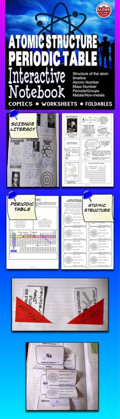 Science interactive notebook on the structure of t Science Curriculum, Science Resources, Science Classroom, Science Lessons, Teaching Science, Teaching Tools, Engineering Science, Physical Science, Mass Number