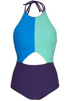 The cutout makes these three colors work perfectly together. #refinery29 http://www.refinery29.com/monokini-one-piece-swimsuits#slide-22