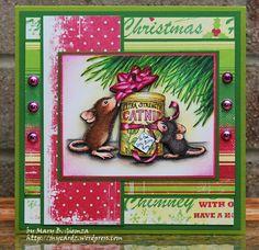 Super cute mouse Christmas card idea.....great color palette.