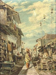 Willem van der Does - Woman in alley way,Indonesia Indonesian Women, Indonesian Art, Famous Art Paintings, Paintings I Love, Bali Painting, Painting & Drawing, Dutch East Indies, Drawing Projects, Woman Illustration