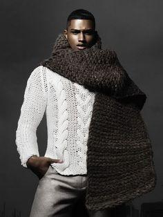 Rob Evans by Dimitris Theocharis // Schön (Issue Rob Evans, Handsome Black Men, Designer Scarves, Well Dressed Men, Stylish Men, Scarf Styles, Pulls, Outfit, Male Models