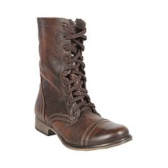 Steve Madden Troopa Women's Combat Boots...also love the Banddit, which has cute straps rather than laces, and the FB Phnix, which is tall and fabulous...Troopa - $99, Banddit - $199, FB Phnix - $350