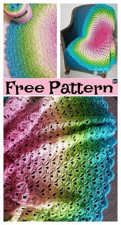 Crochet Lotus Flower Blanket – Free Pattern #freecrochetpattern #blanket #flower