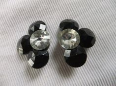 Vintage Clip On Earrings Black and Clear by TransformTreasures, $12.00