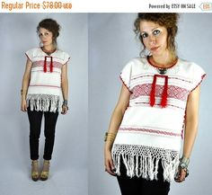 SALE Fringed Embroidered Mexican Oaxacan Blouse by ItaLaVintage