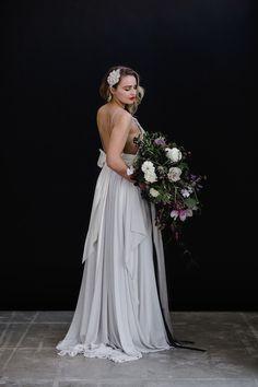 Pale grey bridal gown