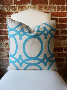 """Turquoise Geometric - Global - Hand printed on Natural Linen - Pillow Cover - 20""""x20"""". $70.00, via Etsy."""