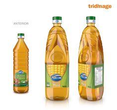 Diseño etiqueta de aceite Arcor, Clara Elortondo. Diseño de botella PET, Tridimage
