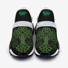 These beautifully designed sneakers are inspired by Irish and Celtic heritage with a modern twist whilst also incorporating the Celtic Tree of Life with our own style. Designed by our design team, the flowing lines and Celtic Tree of Life and Celtic Knot are what we are all about here at Urban Celt. These are only available here and not sold in shops.  Like all our products these sneakers are custom-made-to-order and handcrafted to the highest quality standards. Irish Wedding Traditions, Celtic Tree Of Life, Handfasting, Celtic Designs, Celtic Knot, Crocs, Footwear, Urban, Unisex