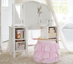 Good morning! Make getting ready for the day fun for your little girl with the sweetest vanity.