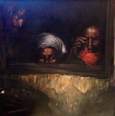 Yiannis Koutrikas (1954, Greek) - Untitled. Oil on canvas 39.5 x 39.5cm
