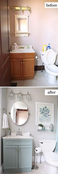 49 Most Beautiful Before and After Bathroom Makeovers Growing weary of your outdated bathroom? We've got excellent DIY bathroom ideas to inspire your renovation plans. Whether you want a cottage farmhouse bathroom makeover, budg Bathroom Renovations, Home Renovation, Home Remodeling, Bathroom Makeovers On A Budget, Simple Bathroom Makeover, Bathroom Staging, Small Bathroom Ideas On A Budget, Easy Bathroom Updates, Mirror Makeover