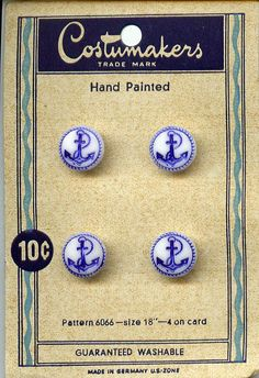 ButtonArtMuseum.com - card of hand painted buttons pattern 6066 guaranteed washable Costumakers trade mark.