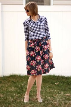 Blue gingham with floral skirt- mixing prints