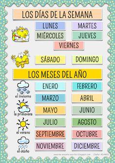 Me encanta escribir en español: Los días de la semana y los meses del año.                                                                                                                                                                                 Más