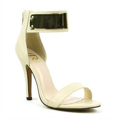 Add the perfect amount of allure in this trendy sandal. Made in smooth materials with a chrome detailed ankle-cuff, these open-toe sandals will bring a flattering look to your ensemble. Finished with a back-zip closure, lightly cushioned insole, stitching details and a textured rubber outsole.