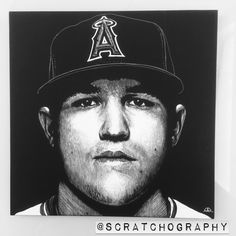 Mike Trout Scratchboard artwork by Justin Reding. 8x8 scratched with an X-Acto knife blade.