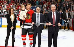 Hossa being honored for his 1,000th game! His daughter Mia is so precious! And his wife Jana is stunning!