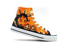 Vampire's Love! Halloween Theme Hand Painted High-top Shoes, New Arrival Hand Drawing Shoes, Cosplay Hand Drawing Shoes