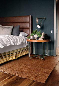 interlocking leather rug in cognac, woven look, by Elvis & Kresse Leather Headboard, Wingback Headboard, Leather Bed, Leather Rugs, Brown Leather, Masculine Interior, Bedroom Decor, Interior Design, Architecture