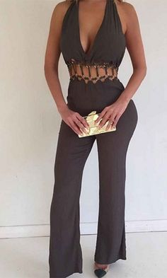 Reason To Believe Brown Sleeveless Plunge V Neck Halter Cut Out Eyelet Waist Flare Leg Jumpsuit