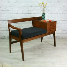 Wonderful Vintage Teak Telephone Seat home decor design furniture -omg, this is a REAL piece of furniture! The post Vintage Teak Telephone Seat home decor design furniture -om . Teak Furniture, Retro Furniture, Mid Century Modern Furniture, Furniture Decor, Furniture Design, Furniture Stores, Furniture Cleaning, Furniture Websites, Country Furniture