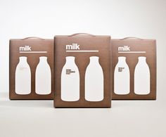 """I have designed cardboard milk packaging for glass milk bottles. The idea was to use a minimalist approach, keeping the packaging uncluttered and to make a bold statement as to what the product was.  The different types of milk were in different colours to make them easily distinguishable, with the number of bottles on the front indicating the number of milk bottles inside the package."""