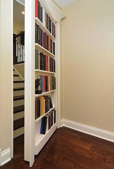 21 secret rooms for homeowners who have something to hide Lock up your valuables or hide yourself from annoying house guests with any of these hidden rooms and secret passageways. Stairs Covering, Redo Stairs, Attic Stairs, Hidden Door Bookcase, Door Design, House Design, Garden Design, Home Library Design, Library Ideas