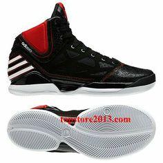 "Adidas Derrick Rose 2.5 Dominate ""Away"" Black-Running White-Light Scarlet Hot Sale"
