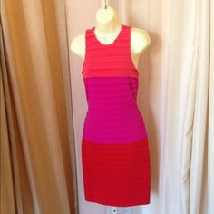 Color block Bandage Dress Pink, purple and orange/ red color block dress. Very stretchy, back zip. London Times Dresses