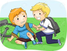 Illustration of a Little Boy Helping Another Boy Who Fell Off His Bike Stock Photo , Autumn Illustration, Boy Illustration, Help Clipart, Friends Clipart, Morning Girl, Friend Cartoon, Picture Composition, Bible Stories For Kids, Islamic Cartoon